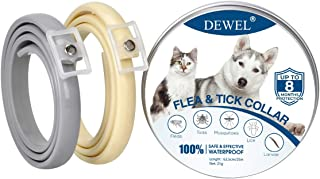 DEWEL 2pcs Collar Antiparasitos Perros/Gatos contra Pulgas,Garrapatas y Mosquitos,Tamaño Ajustable e Impermeable para Masc...