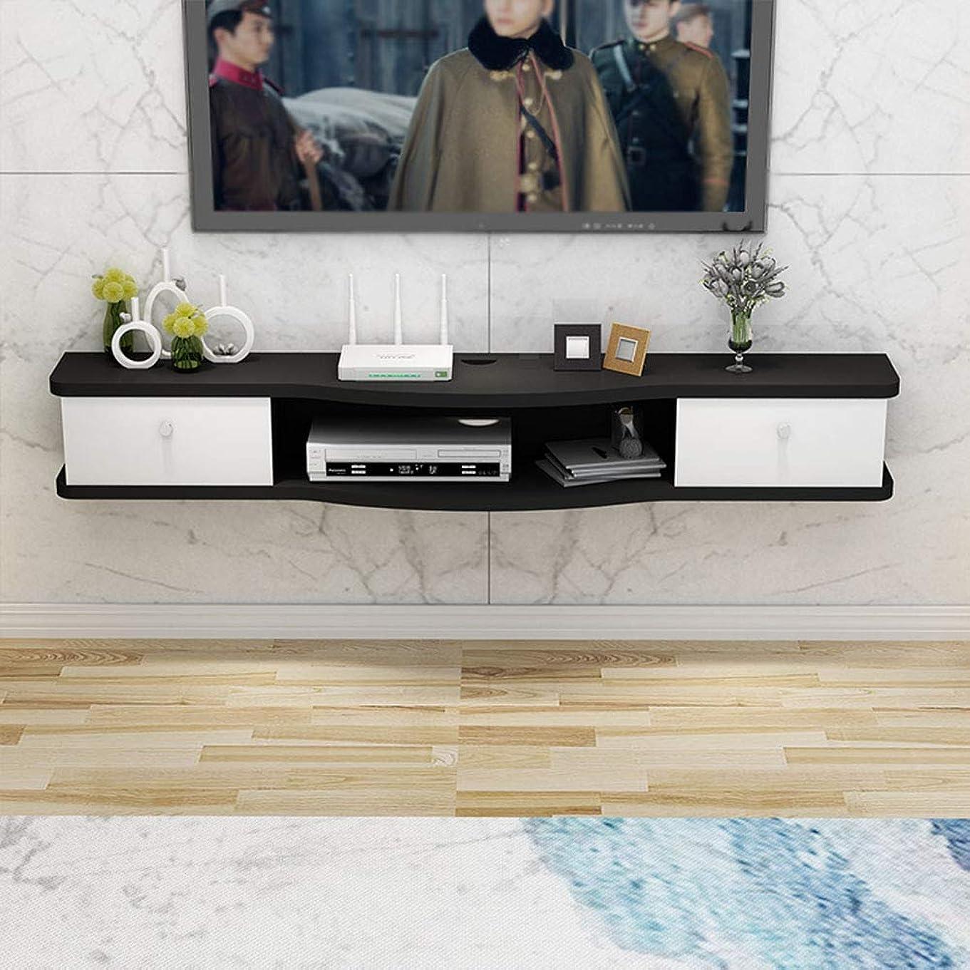 男らしさすり果てしない壁掛けテレビキャビネット、多機能収納棚、壁掛けエンターテイメントユニット、白/黒