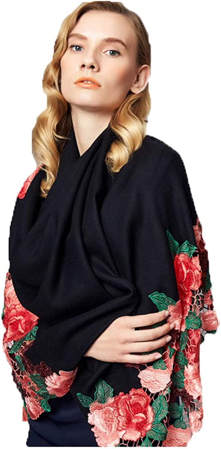 Wraps & Pashminas Women's Scarf Autumn and Winter Long Scarf Wool Scarf Flower Embroidered Scarf Fashion Black Bib Hollow Shawl Gift Boxed Scarf Embroidered Hollow Shawl