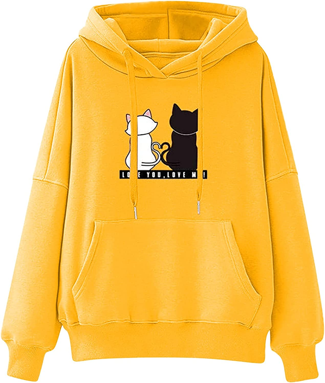 Hoodies for Women Pullover Long Sleeve Cat Print Hooded Sweatshirts Teen Girls Casual Loose Tops Shirts