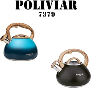 POLIVIAR Tea Kettle, Aqua/Black Ti Tea Pot Stovetop, 2.7 & 2.1 Quart Loud Whistling Coffee and Teapot, Food Grade Stainless Steel for Anti-Hot Handle and No-Rust, Suitable for All Heat Sources