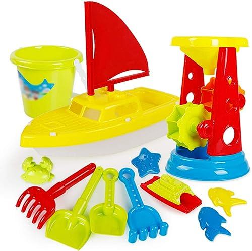 KS Strandspielzeug-Set,12-Tlg Draussen SegelStiefel Kunststoff Strandspielzeug,Glatt Sicherheit Sandkastenspielzeug Für Kinder Verdicken A
