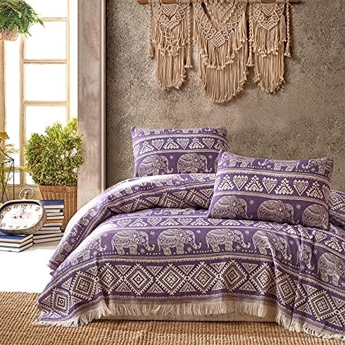 Class Home Collection Premium Tagesdecke | Bettüberwurf mit Fransen | Kuscheldecke 220x240 cm | Extra große Wohndecke | Sofadecke 100prozent Baumwolle | Elefant Muster | Lila