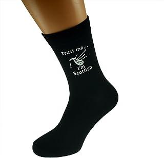 Trust me I'm Scottish & Bagpipes Image Design Mens Black Cotton Rich Socks