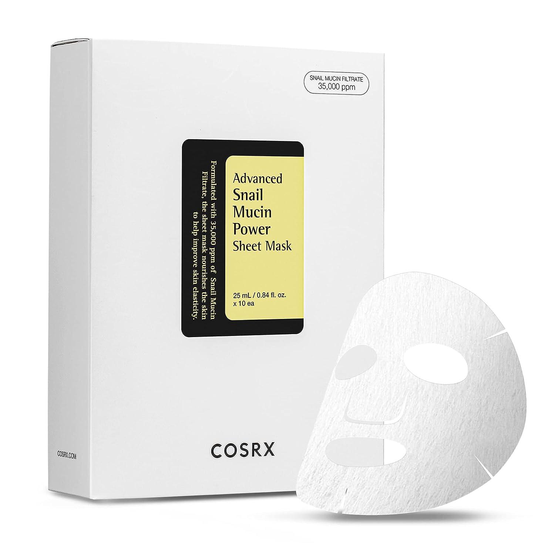 COSRX Advanced Snail Mucin Power Sheet Mask 10 Sheets | 35,000 ppm of Snail Secretion Filtrate | Korean Skin Care, Hydrating, Moisturizing