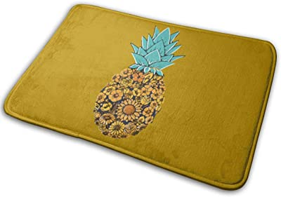 Pineapple Floral Carpet Non-Slip Welcome Front Doormat Entryway Carpet Washable Outdoor Indoor Mat Room Rug 15.7 X 23.6 inch