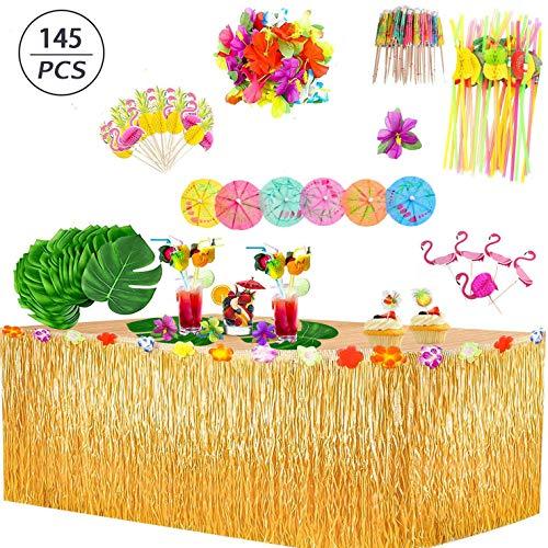 145 Stück Hawaii Luau Tischröcke Set, Hawaiian Hibiscus Gras Tisch Rock Tropische mit Hawaiianische Blüten,Flamingo, Kuchendeckel und 3D Fruchtstrohhalme