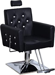 BarberPub Classic Recliner Barber Chair Antique Hair Spa Salon Styling Beauty Equipment 3123