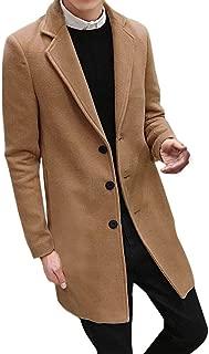 Men Single Breasted Pea Coat Formal Business Blazer Suit Long Jacket Outwear