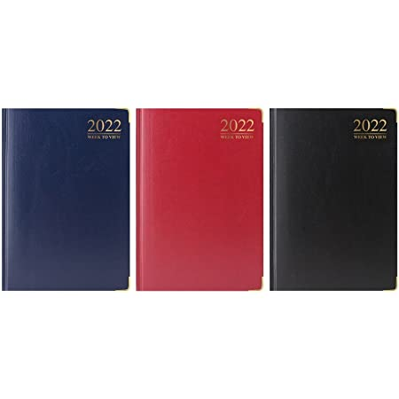 2022 A5 Week to View Diary - WTV A5 Planner Hardback Cover Casebound Assorted