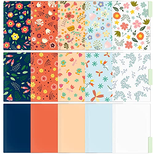 EOOUT 15 Pack Decorative File Folders, Cute Floral File Folders, Colored Letter Size File Folders, 1/3-Cut Tabs, 9.5 x 11.5 in, for Office, School