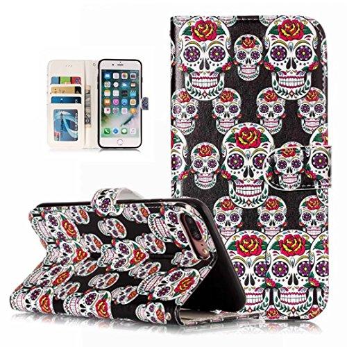 iPhone 5/5S/5SE hoesje PU Lederen Flip portemonnee case credit card slot functies magnetische off stent functie 3D patroon patroon ontwerp beschermende DECHYI case, Portemonneehouder, FD17, iPhone 7/8 Plus(5.5