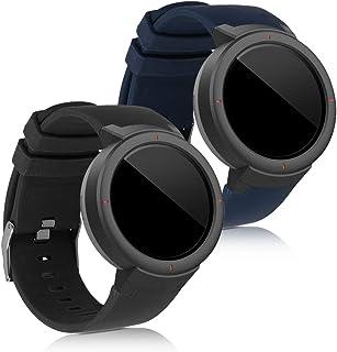 kwmobile 2X Pulsera Compatible con Huami Amazfit Verge - Brazalete de Silicona Negro/Azul Oscuro sin Fitness Tracker
