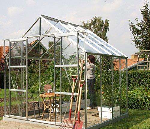 Gartenwelt Riegelsberger Gewächshaus Uranus - Ausführung: 6700 ESG 3 mm Alu, Fläche: ca. 6,7 m², mit 2 Dachfenster, Sockel: 2,54 x 2,54 m