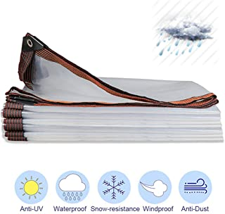 YJHH Tarp Transparent Clear, Waterproof Outdoor Thick Plastic Tarpaulin with Grommets and Reinforced Edges, Multi-Purpose Tarpaulin for Roof Camping, 100g/m²