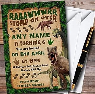 10 x Scary Prehistoric Dinosaur Personalized Childrens Birthday Party Invitations