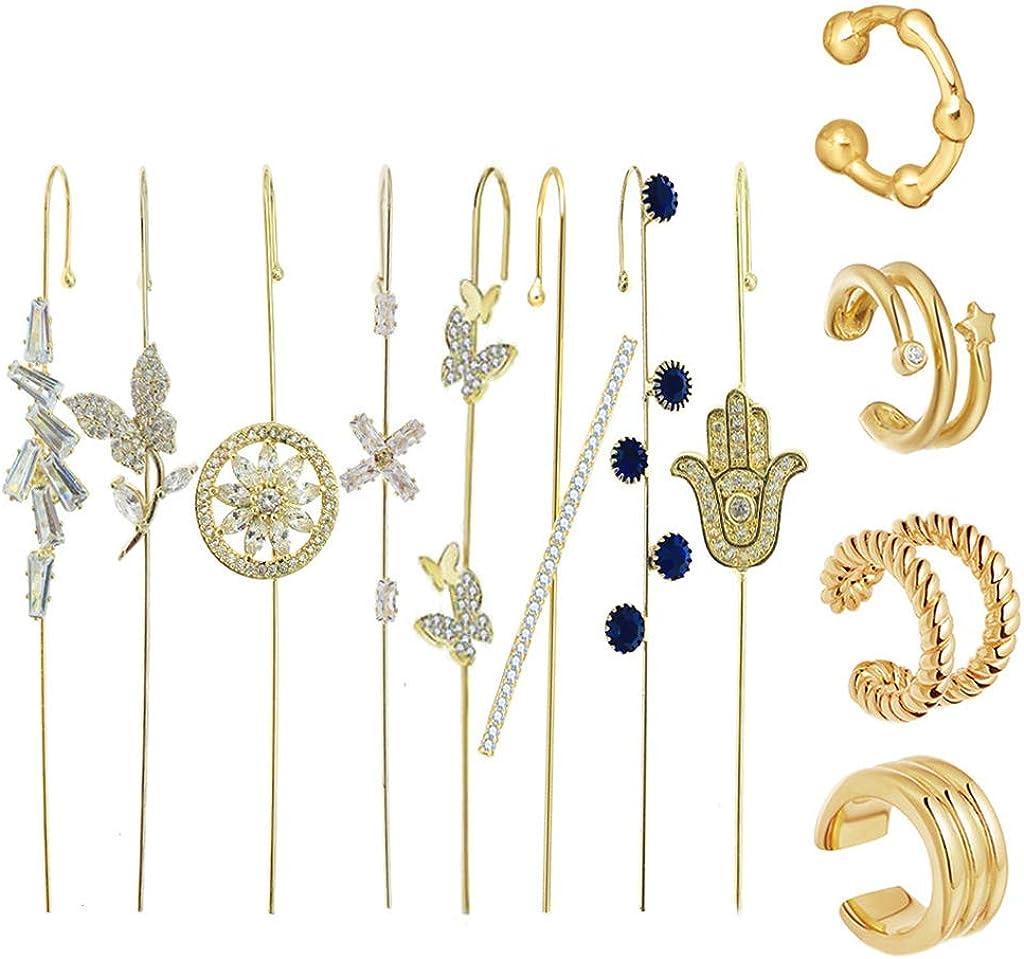 YEZININHAO Golden Ear Cuff Wrap Crawler Hook Earrings Kit Rhinestone Piercing Stud Earrings - E Set 16
