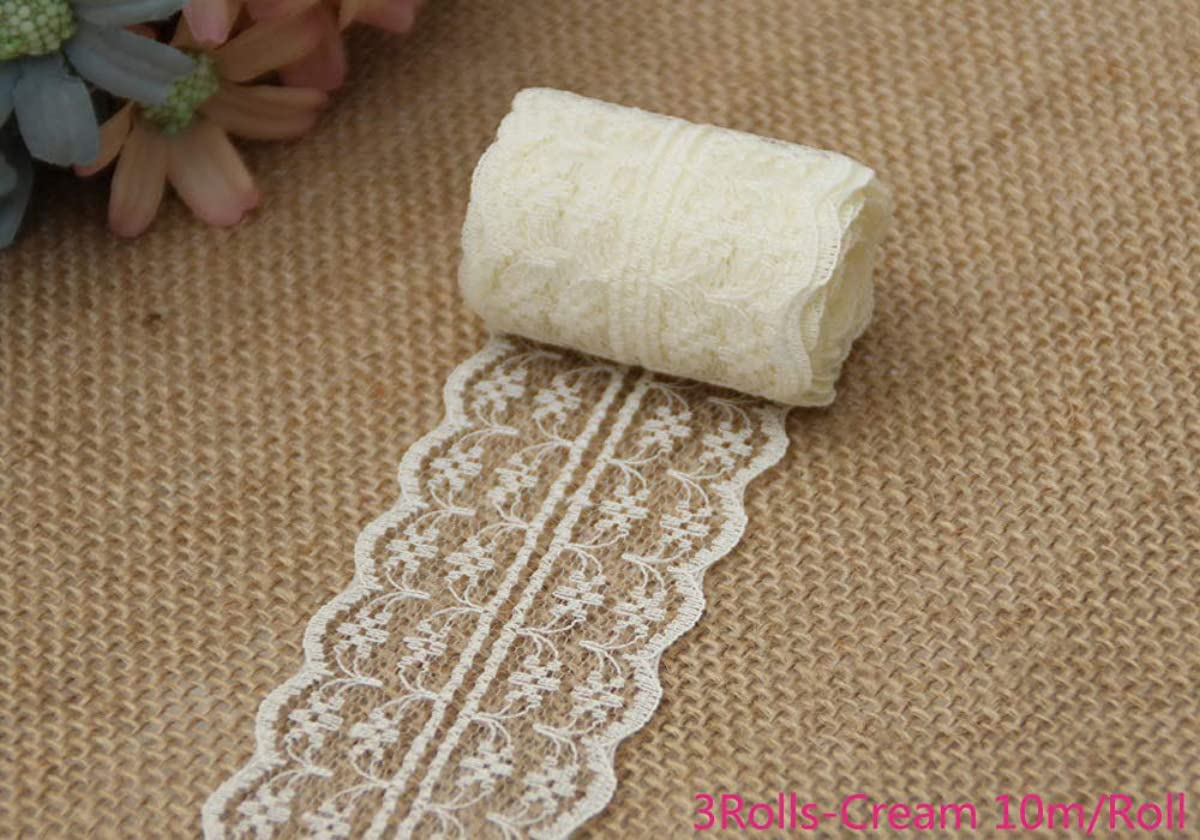 LNKA Lace Trim Ribbon 4.5CM Width 1.77inch for Decorating Floral Designing and Crafts (Cream-Coloured Lace Ribbon, (3Rolls)-Length:10M/Roll)
