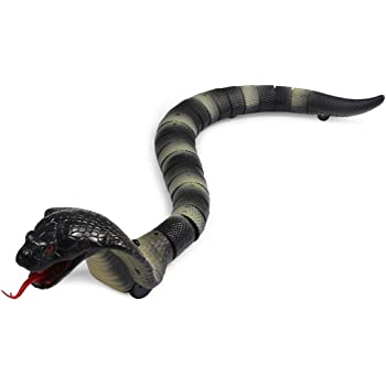 Remote Control Snake Toy Cobra With Retractable Tongue Swinging Tail Doll New,