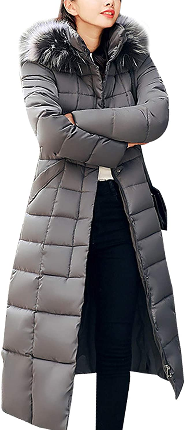 OMZIN Women's Cotton Down Hooded Coat with Faux Fur Trim Parka Winter Full Lengh Jackets