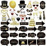 Konsait 50 cumpleaños Accesorios de la Cabina de Foto, 50 cumpleaños Decoracion DIY Photo Booth Props Kits con Palo para Fiesta de cumpleaños a Favor de Suministros (53 Cuentas)