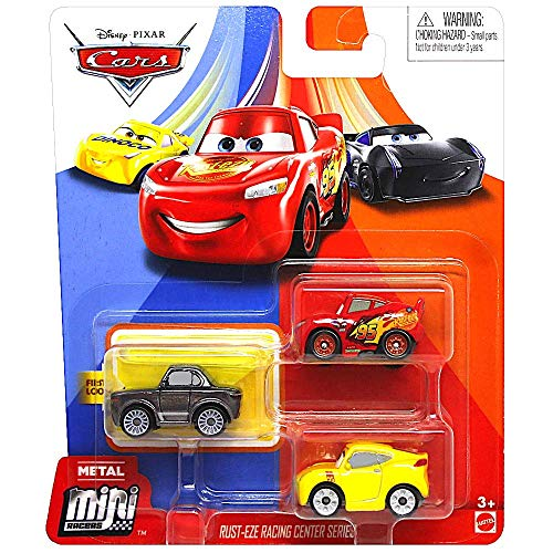 Disney Cars Rust-Eze Racing Center Series Mini Racers Set with Metallic Sterling