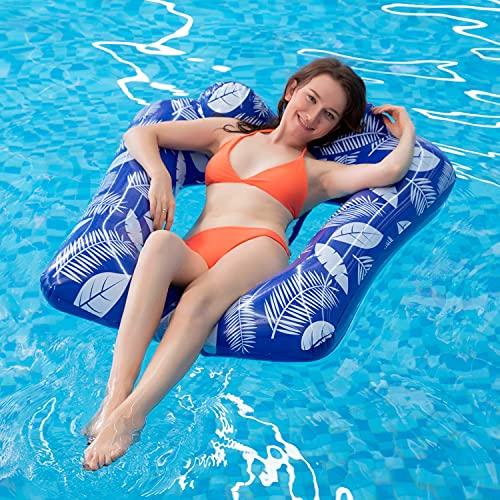 MiiDD Aufblasbare Float,Wasserhängematte mit Netz,Luftmatratze Wasser Pool Hängematte Wasserliege Schwimmring mit Netz110 x 80 x 25 cm(U-förmiges Kissen)