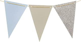 Ling's Moment 15pcs Paper Banner Flags Triangle Flags Banner Vintage Style Pennant Banner for Wedding, Baby Shower, Event & Party Supplies, Photograph Props(Gray+Pastel Blue+Silver Glitter)