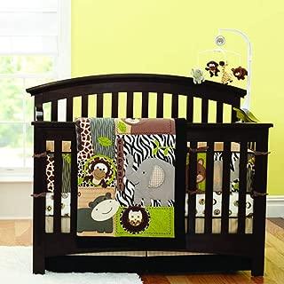 Brandream Crib Bedding Set for Boys with Bumpers Animal Printed Elephant Giraffe Monkey Hippo Owl and Bear Baby Nursery Bedding, 7 Pieces 100% Soft Cotton