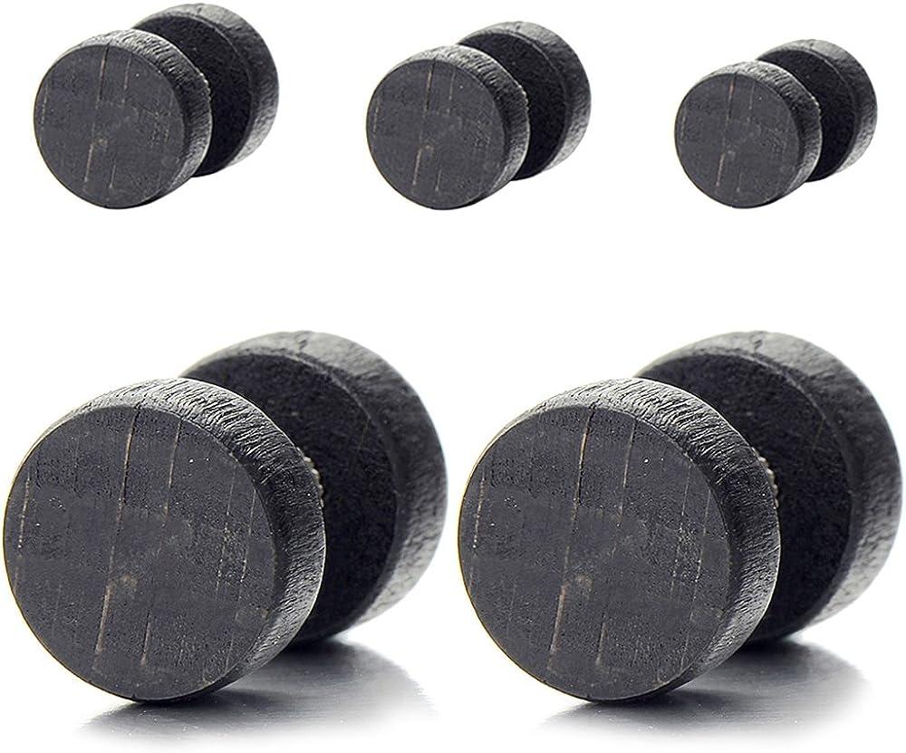 2pcs Wood Screw Stud Earrings for Men Women, Cheater Fake Ear Plugs Gauges