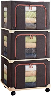 Ensemble de 3 boîtes de rangement pour sac de rangement pliable avec poignées Double fermeture à glissière Fenêtres transp...