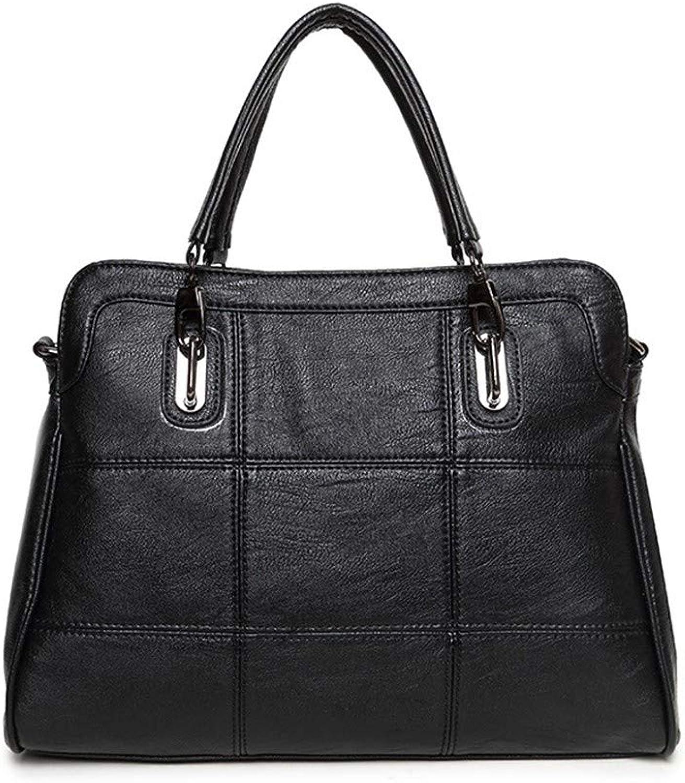 NZZNB Women's Handbag European Fashion Soft Leather Large Capacity Ladies Shoulder Bag Solid color Multi-Pocket Office Satchel Tote Purse Top-Handle Handbags