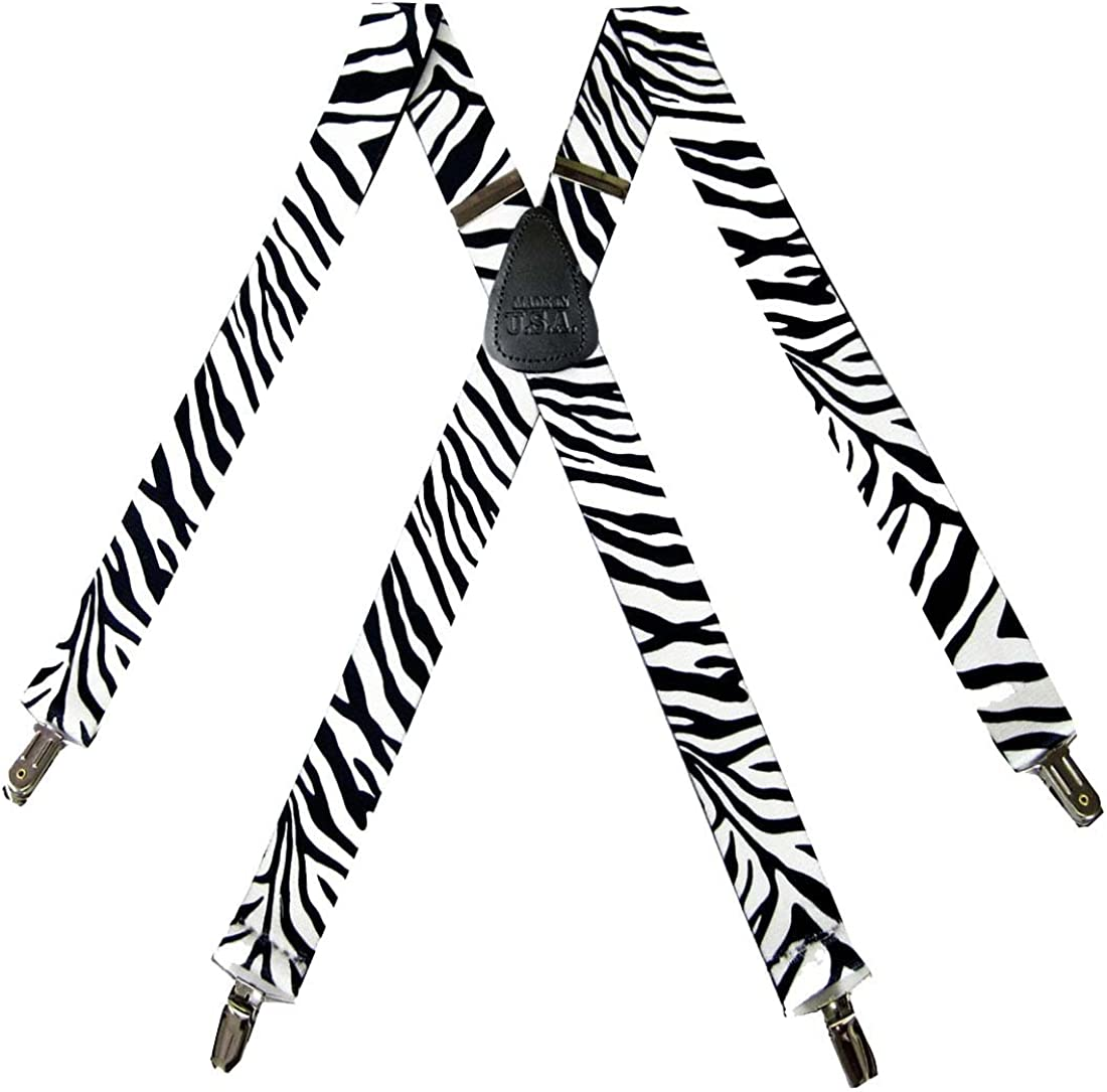 Mens Zebra and Tiger Print Themed Suspenders