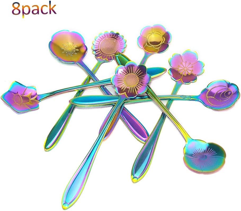 E Smurfs Coffee Spoon Stainless Steel Flower Teaspoons 8 Pcs Set Teaspoon Mixing Spoon Sugar Spoon Ice Cream Spoon Tea Party Rainbow Color