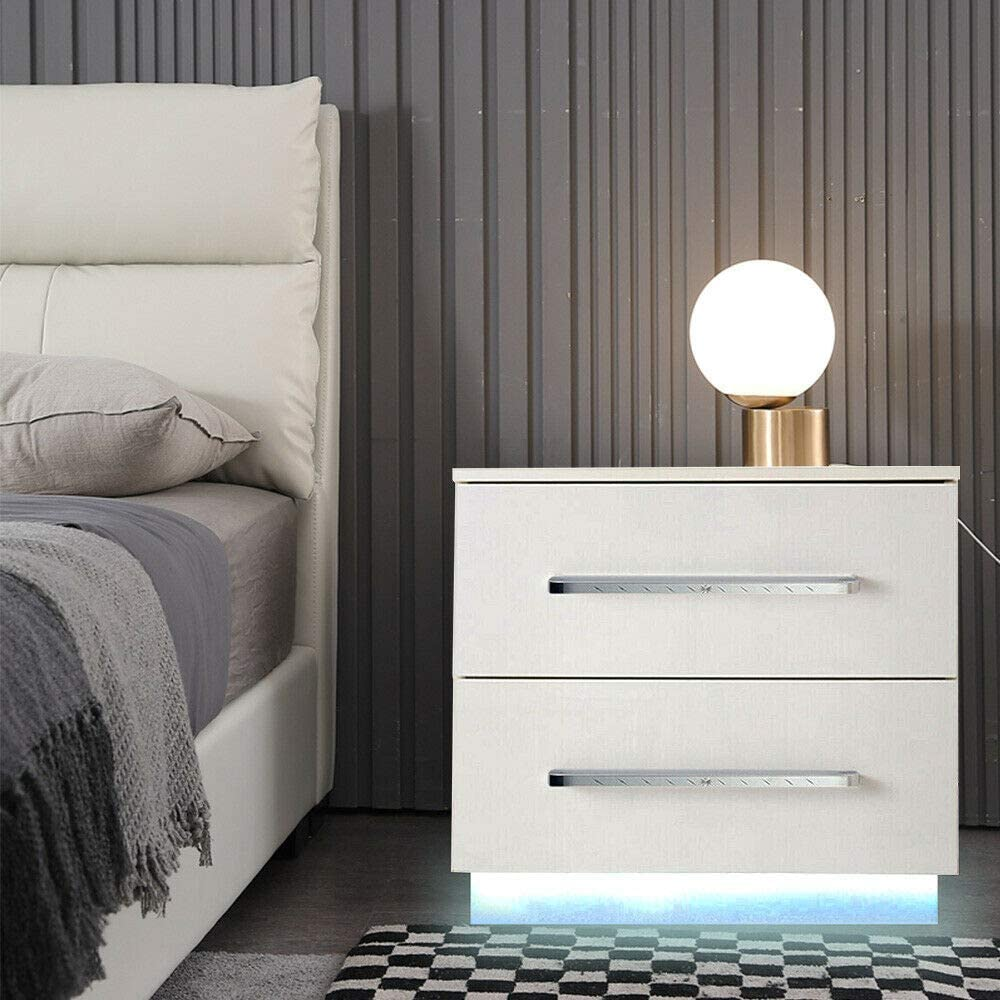 Max 53% OFF High Gloss LED Nightstand Modern 2 Drawer Night Excellent S Stand Storage