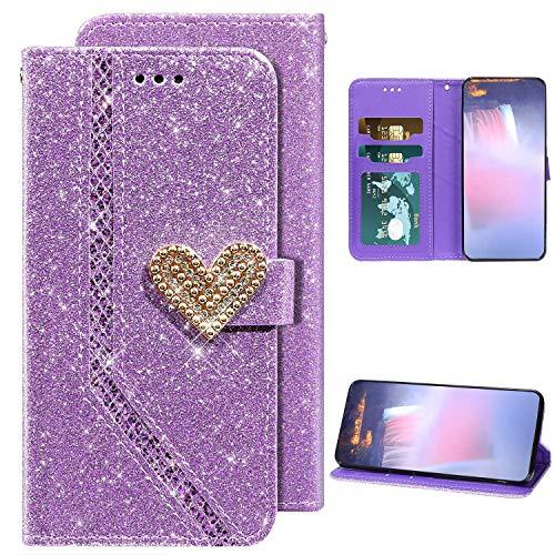 Kompatibel mit Samsung Galaxy A71 Hülle Glitzer Bling Liebe Herz Diamant Handytasche PU Leder Flip Case Magnet Brieftasche Klapphülle Ledertasche Handyhülle mit Kartenfächer Standfunktion,Lila
