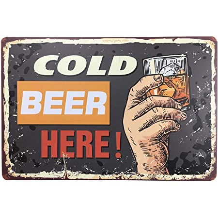 """Cold Beer Here Vintage Signs 12/""""x16/"""" Canvas Picture Art Print Kitchen Bar Club"""