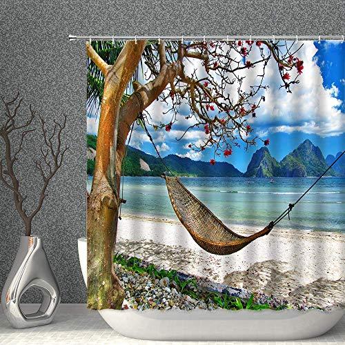 Aliyz Cortina Ducha oceánica árbol Verano con Hamaca patrón Playa Tropical Cortina Ducha privada Cortina Ducha Tela poliéster Impermeable 72x72 Pulgadas con 12 Ganchos plástico