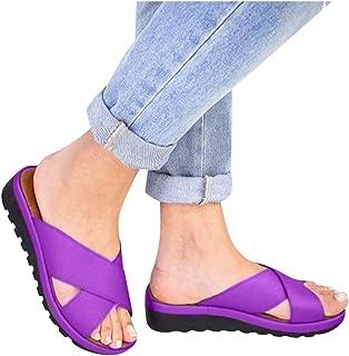 Fudule 2020 Women New Comfy Wide Width Plat Sandals Shoes Summer Beach Travel Slipper Shoes Thick Bottom Flip Flop