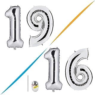 Huture 2 Globos Número 19 Figuras Globo Inflable de Helio Globo de Mylar de Papel Grande Globos Gigantes de Plata Número de Globo de 40 Pulgadas Para Fiesta de Cumpleaños Decoración Prom XXL 100cm