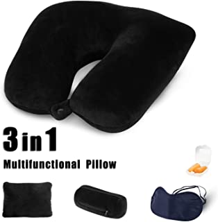 JML Travel Pillow, Convertible Neck Pillow - 3 in 1 Multifunctional, 360º Wrap Neck Pillow with Airplane Travel Kit (Eye Masks and Earplugs) for Traveling on Airplane,Bus,Train or at Home, Black