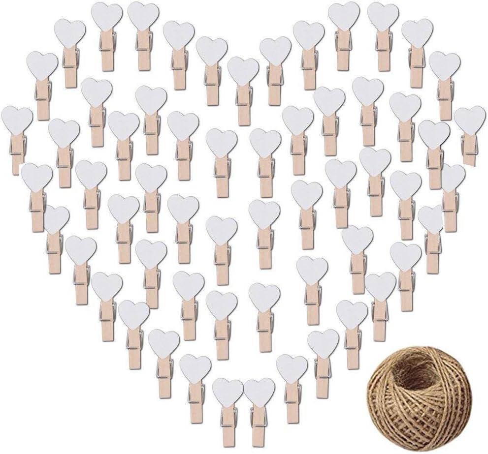 JPYH Mollette in Legno 100 Pezzi Mini a Forma di Cuore Clip di Legno Mollettine Bucato Decorative San Valentino Eventi Party Supplies Collage Fotografico