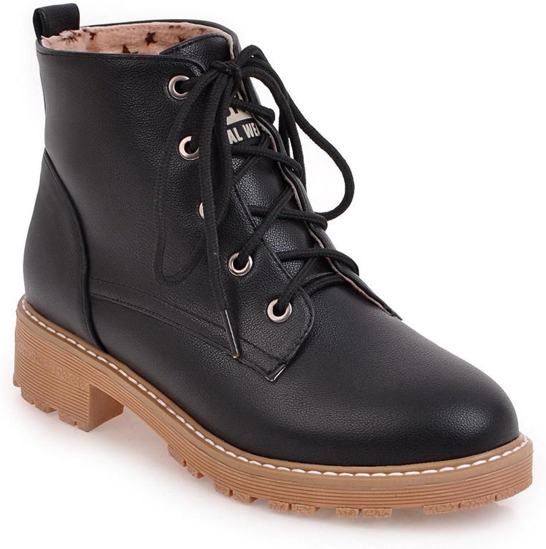 AandN Womens Boots Closed-Toe Lace-Up Adjustable-Strap Low-Heel Warm Lining Waterproof Square-Toe Cushioning Dress Urethane Boots DKU01780