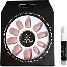 GENNYUE 24PCS and 12 Size of Fake Nails, Nude Full Cover Oval Short UV Top Coat Artificial Acrylic Nails, False Nails + Glue, 1 Pack