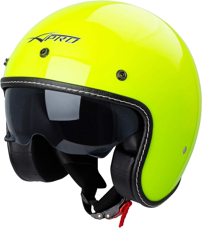 Motorrad Jet Helm Cafe Racer Ece 22 05 Sonnenblende Scooter Fluo Xl Auto