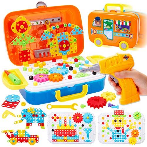 Buyger 6 en 1 Puzzle 3D Mosaicos Infantiles Juguetes Educativo Construccion para Niños con Taladro Herramientas Rompecabezas Juegos Regalos para Niños Niñas