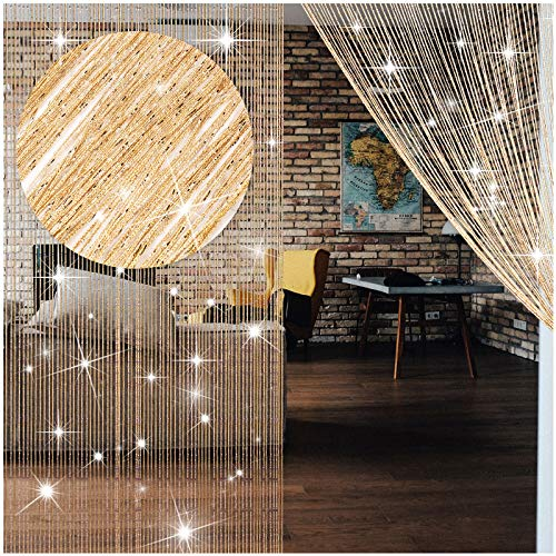 4 Pieces String Curtains Glitter Fringe Curtains for Window 79 x 39 Inch Door String Curtain Divider Strip Tassel for Wedding Living Room Bathroom Coffee Shop Restaurant (Champagne)