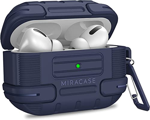 new arrival Miracase Designed for AirPods Pro Case, outlet online sale [Front LED Visible], Full-Body Shockproof Protective Cover with Keychain Compatible wholesale for AirPod Pro (2019) - Navy Blue sale