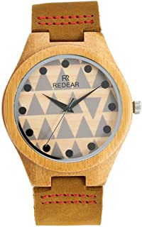 Hexiaoyi Creative Triangle Printed Women's Casual Watch Boutique Wooden Dial Waterproof Leather Band Sport Quartz Watch For Women (Color : Watch)