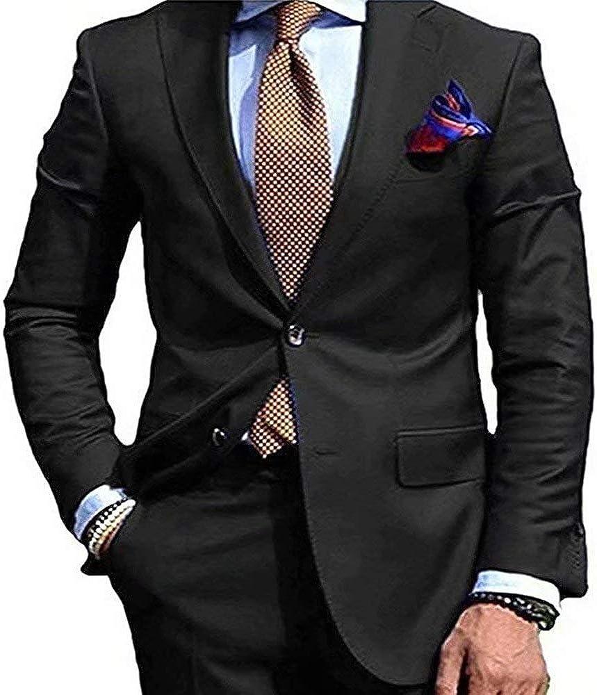 RONGKIM Men's Solid 2 Piece Wedding Suits Notch Lapel 2 Buttons Suit Jacket & Pants Set